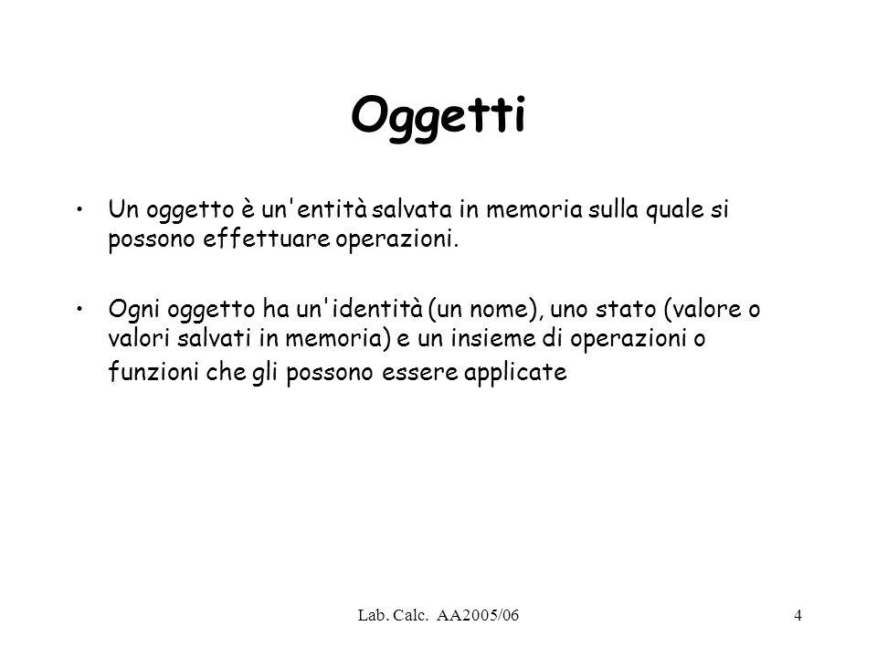 Oggetti Un oggetto è un entità salvata in memoria sulla quale si possono effettuare operazioni.