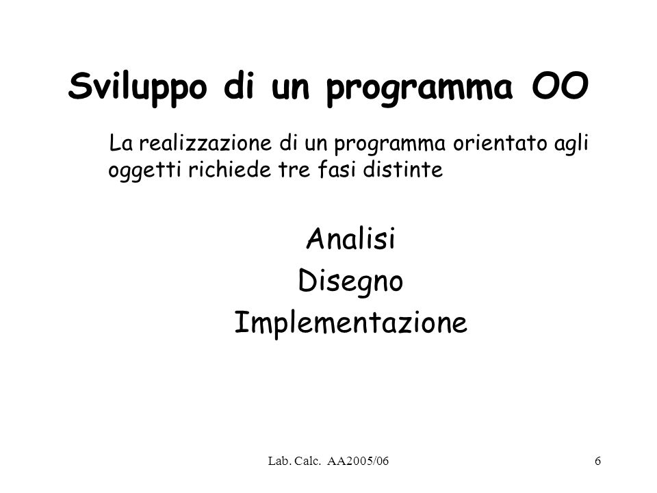 Sviluppo di un programma OO