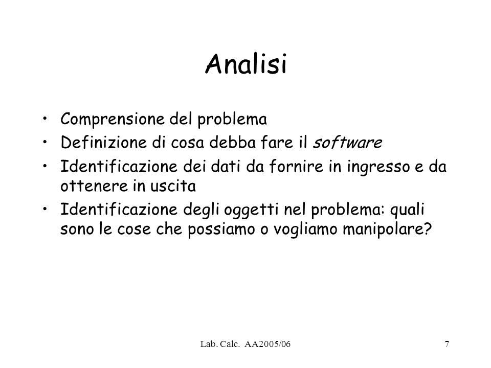 Analisi Comprensione del problema