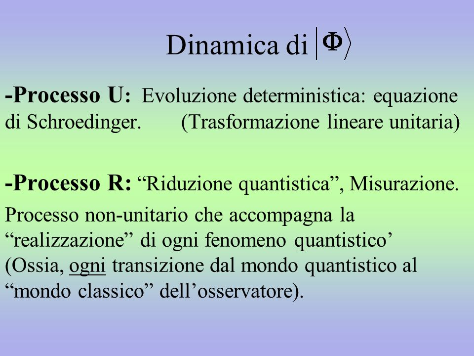 Dinamica di -Processo U: Evoluzione deterministica: equazione di Schroedinger. (Trasformazione lineare unitaria)