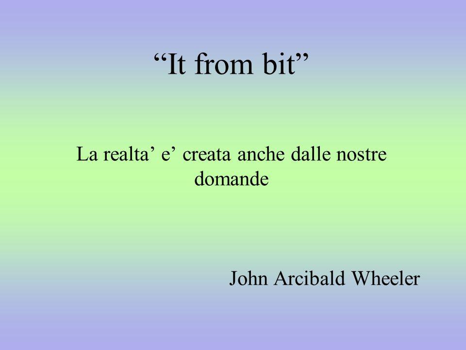 It from bit La realta' e' creata anche dalle nostre domande John Arcibald Wheeler