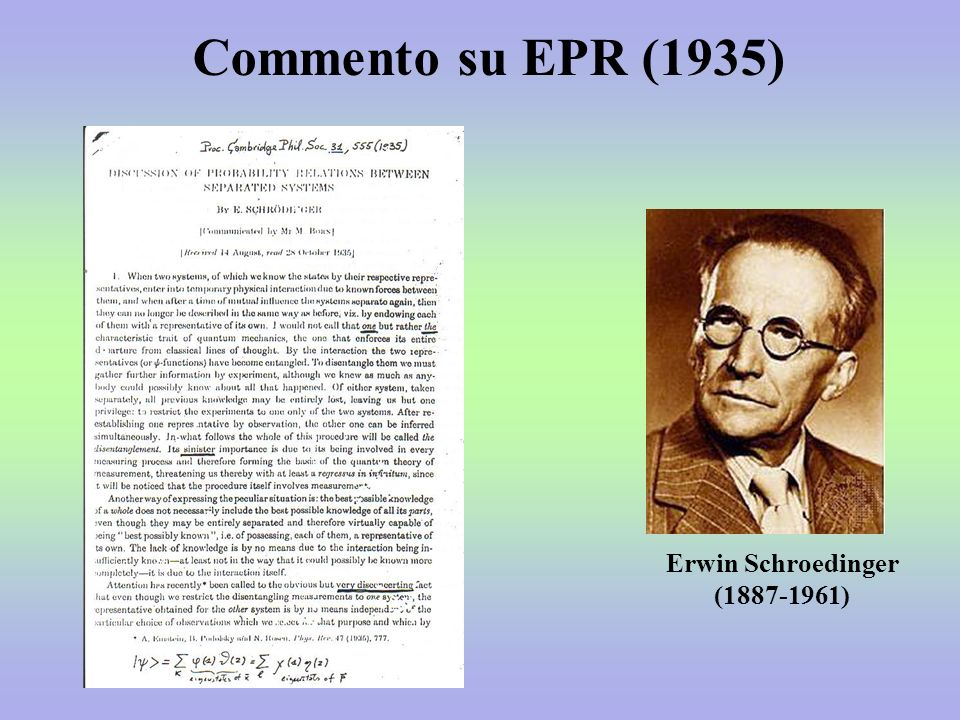 Commento su EPR (1935) Erwin Schroedinger (1887-1961)