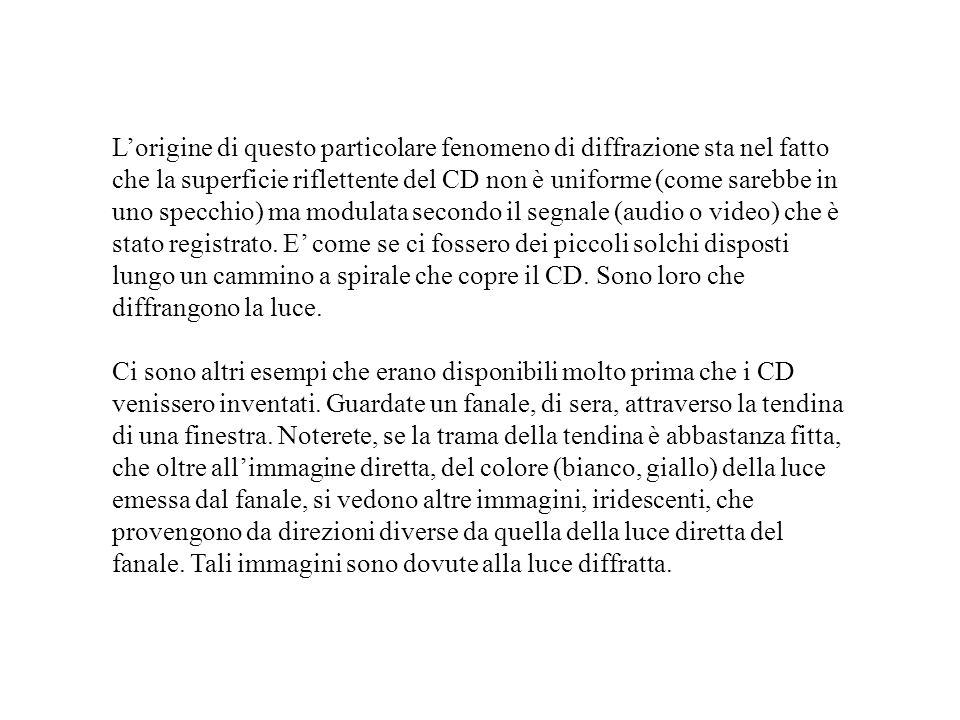 L'origine di questo particolare fenomeno di diffrazione sta nel fatto che la superficie riflettente del CD non è uniforme (come sarebbe in uno specchio) ma modulata secondo il segnale (audio o video) che è stato registrato. E' come se ci fossero dei piccoli solchi disposti lungo un cammino a spirale che copre il CD. Sono loro che diffrangono la luce.