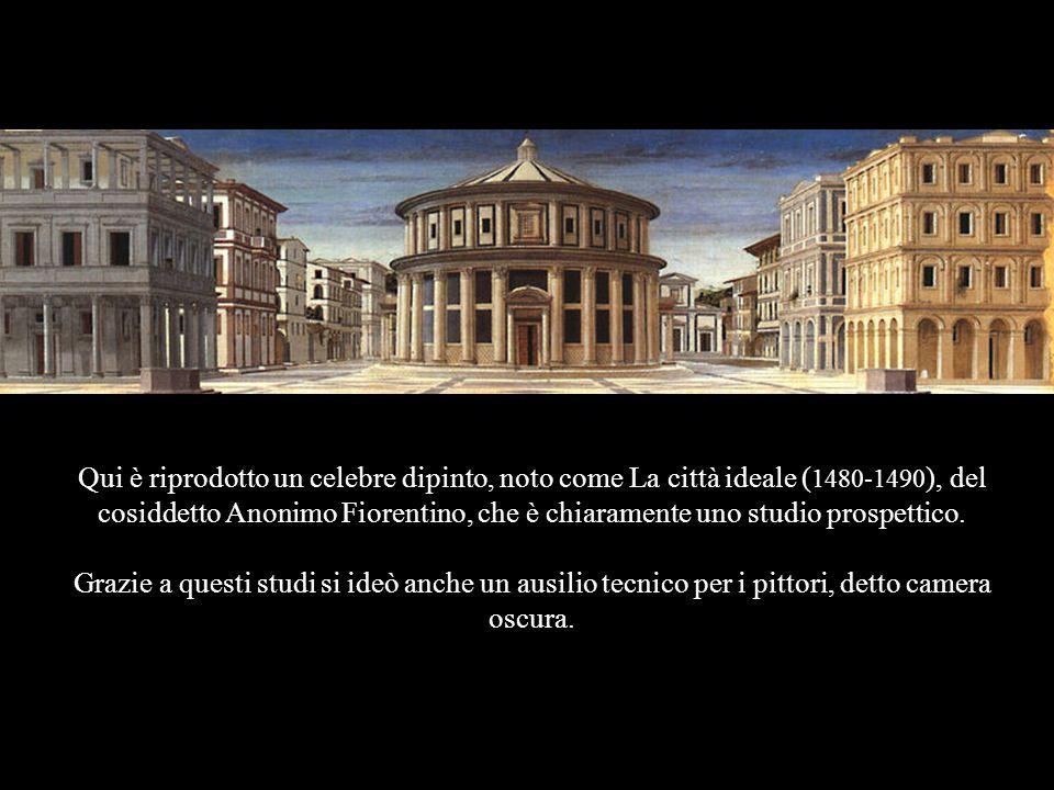Qui è riprodotto un celebre dipinto, noto come La città ideale (1480-1490), del cosiddetto Anonimo Fiorentino, che è chiaramente uno studio prospettico.