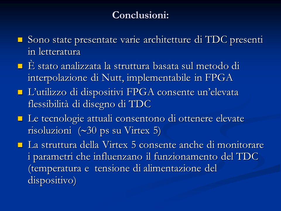 Conclusioni: Sono state presentate varie architetture di TDC presenti in letteratura.