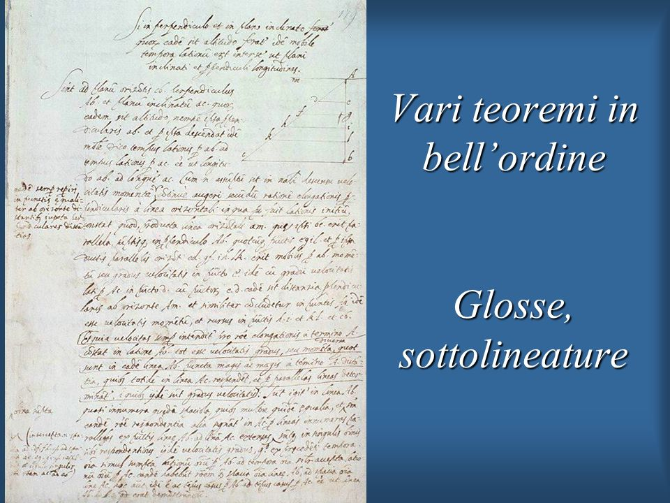 Vari teoremi in bell'ordine Glosse, sottolineature