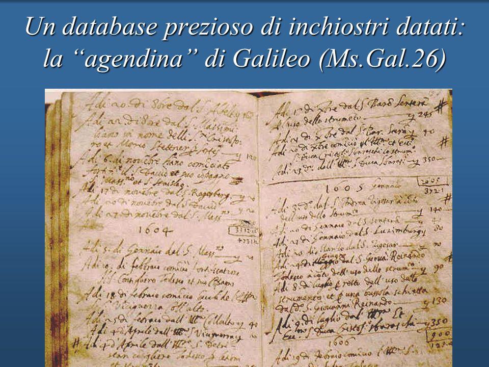 Un database prezioso di inchiostri datati: la agendina di Galileo (Ms.Gal.26)