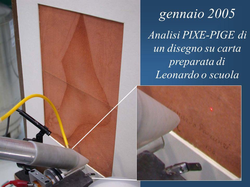 gennaio 2005 Analisi PIXE-PIGE di un disegno su carta preparata di Leonardo o scuola