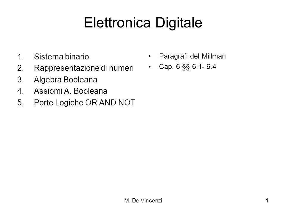 Elettronica Digitale Sistema binario Rappresentazione di numeri