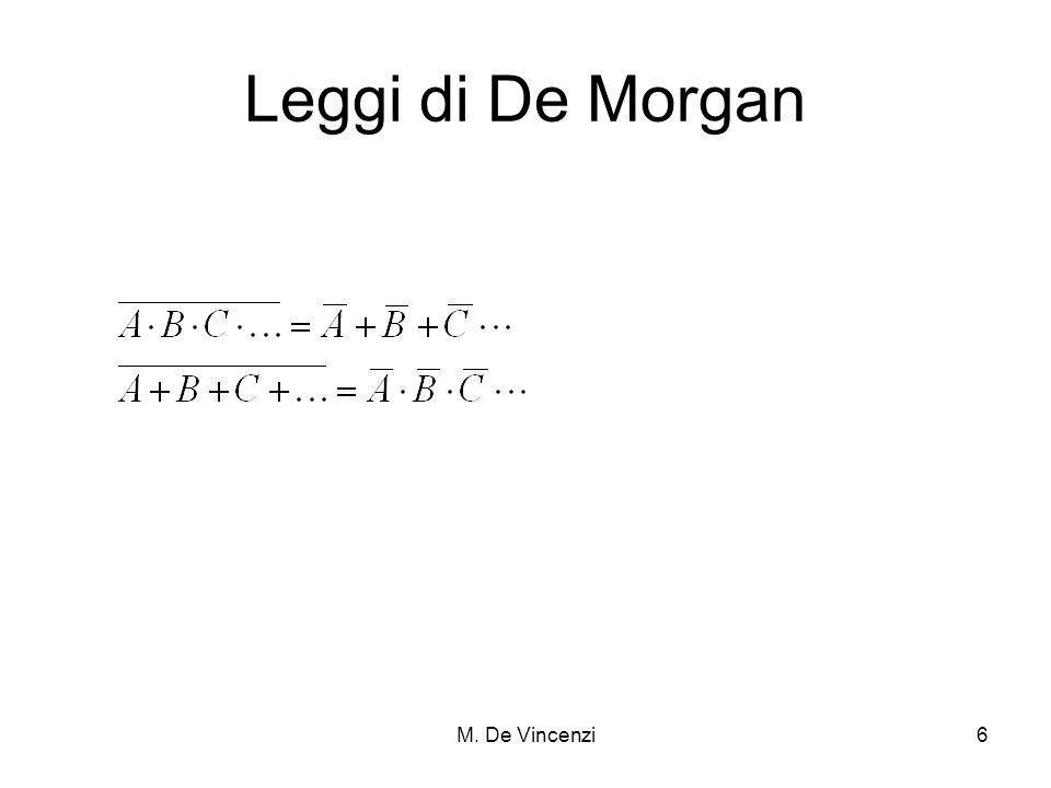 Leggi di De Morgan M. De Vincenzi