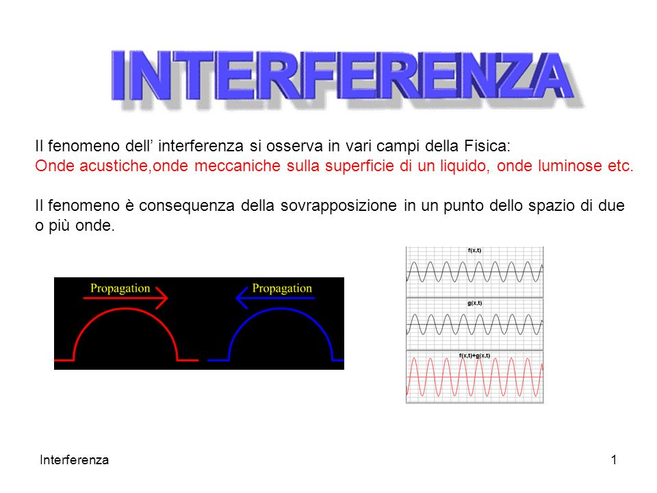 Il fenomeno dell' interferenza si osserva in vari campi della Fisica: