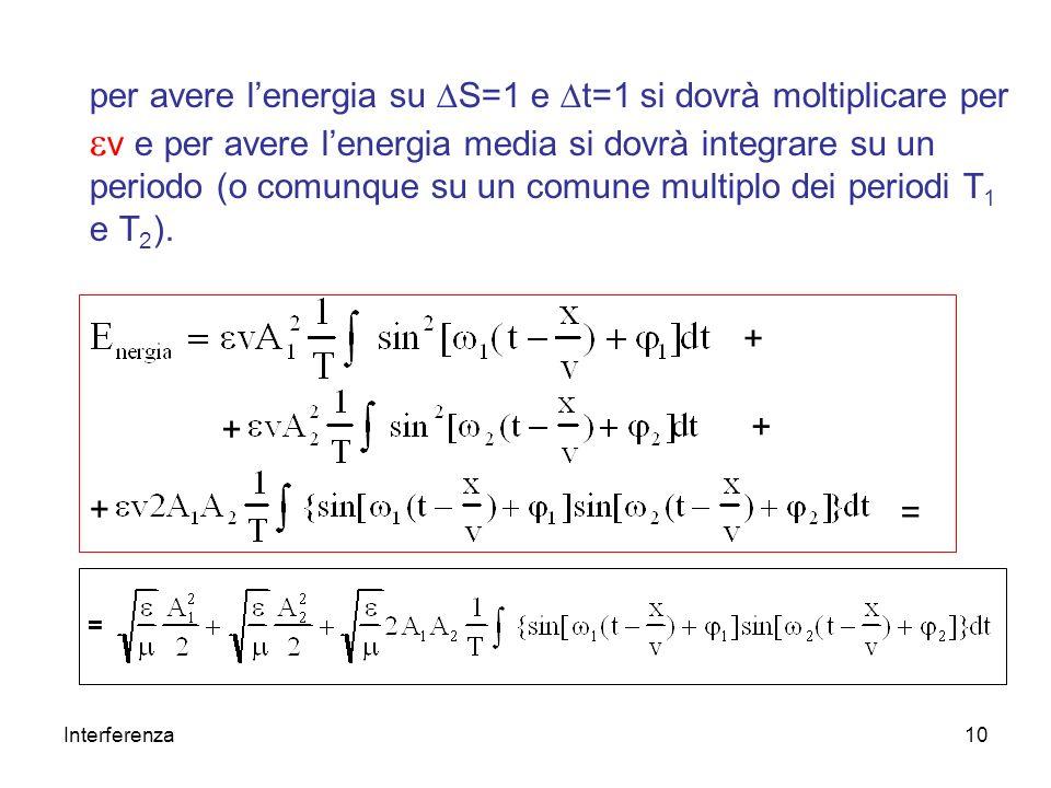 per avere l'energia su DS=1 e Dt=1 si dovrà moltiplicare per ev e per avere l'energia media si dovrà integrare su un periodo (o comunque su un comune multiplo dei periodi T1 e T2).