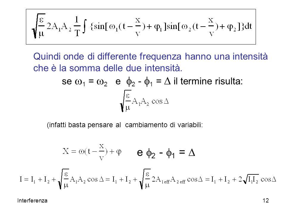 Quindi onde di differente frequenza hanno una intensità che è la somma delle due intensità.