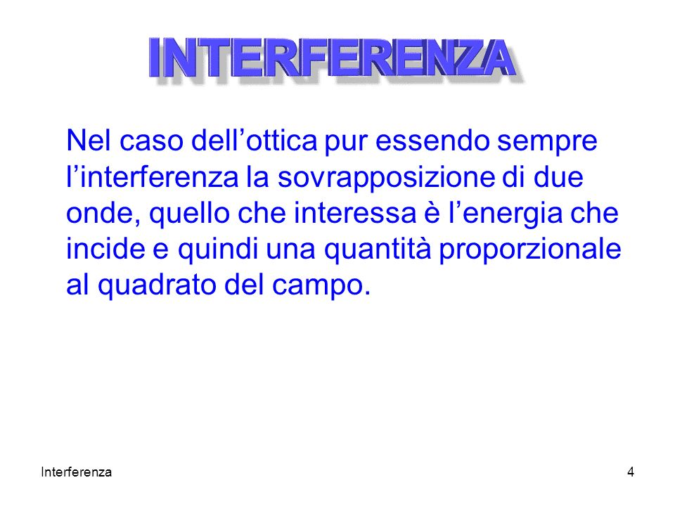 Nel caso dell'ottica pur essendo sempre l'interferenza la sovrapposizione di due onde, quello che interessa è l'energia che incide e quindi una quantità proporzionale al quadrato del campo.