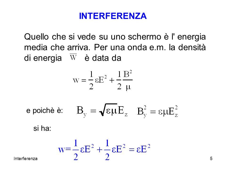 INTERFERENZA Quello che si vede su uno schermo è l energia media che arriva. Per una onda e.m. la densità di energia è data da.