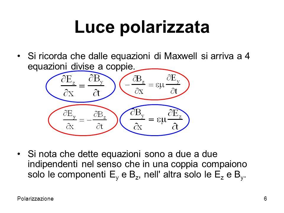 Luce polarizzata Si ricorda che dalle equazioni di Maxwell si arriva a 4 equazioni divise a coppie.