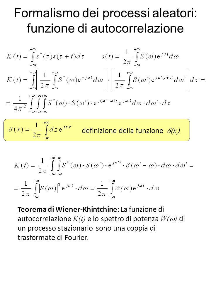 Formalismo dei processi aleatori: funzione di autocorrelazione