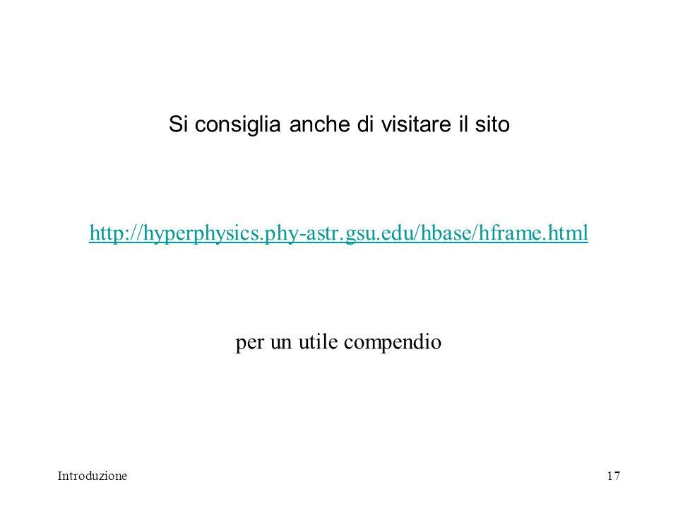 Si consiglia anche di visitare il sito http://hyperphysics. phy-astr