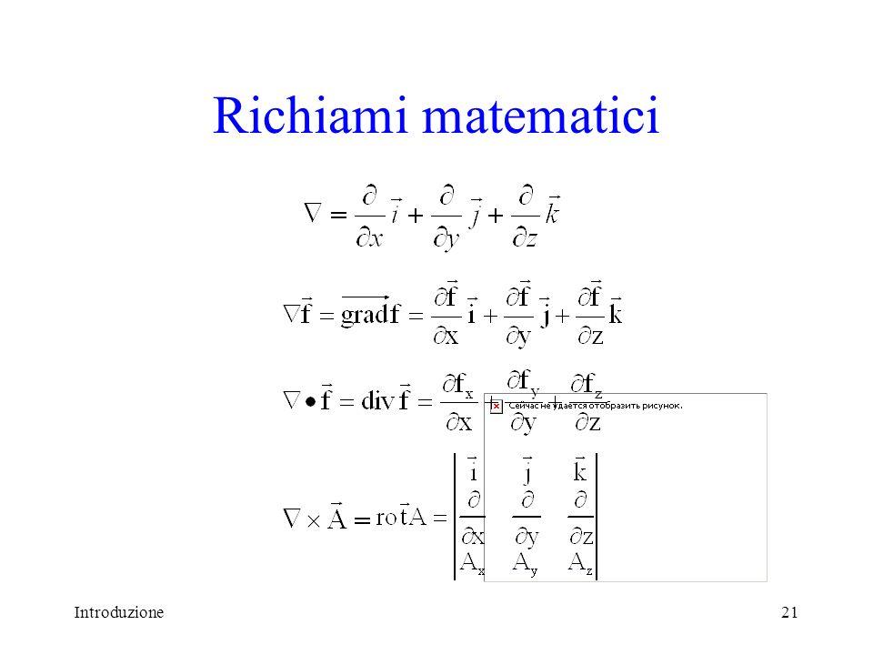 Richiami matematici Introduzione