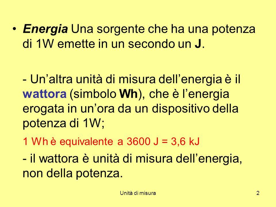 Energia Una sorgente che ha una potenza di 1W emette in un secondo un J.