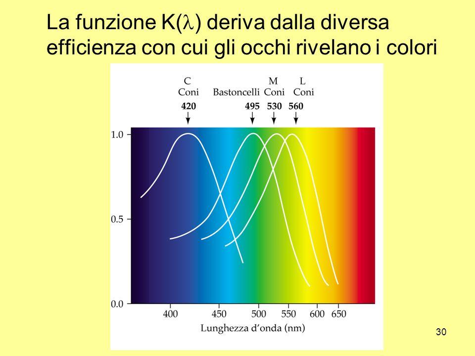 La funzione K(l) deriva dalla diversa efficienza con cui gli occhi rivelano i colori
