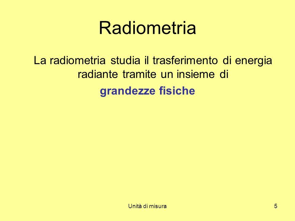 Radiometria La radiometria studia il trasferimento di energia radiante tramite un insieme di. grandezze fisiche.