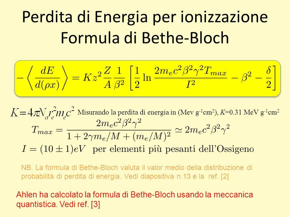 Perdita di Energia per ionizzazione Formula di Bethe-Bloch