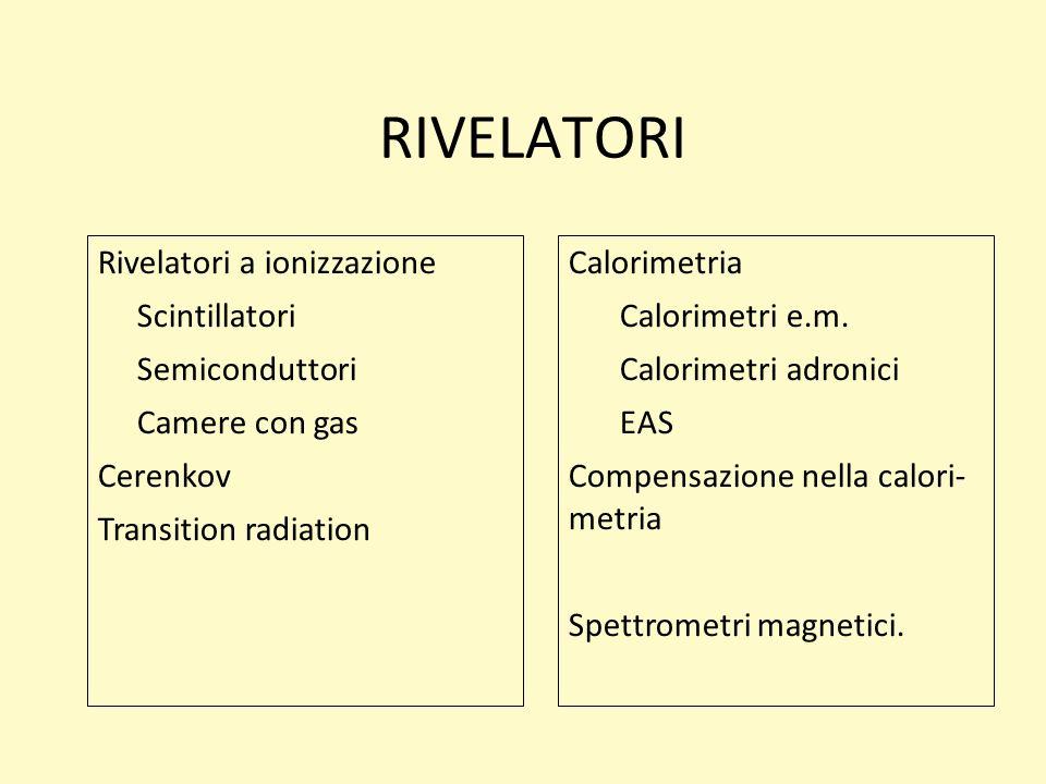 RIVELATORI Rivelatori a ionizzazione Scintillatori Semiconduttori
