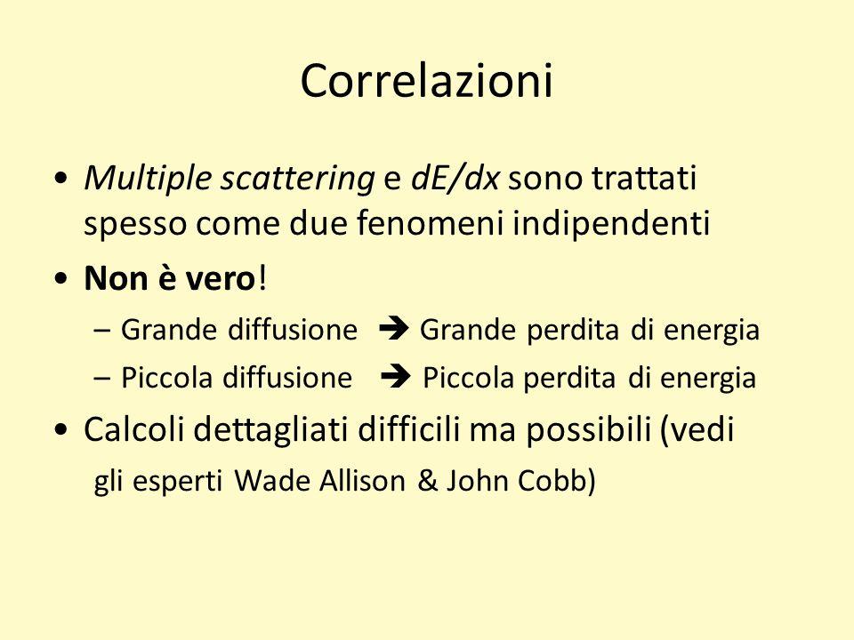 17/03/11 17/03/11. 17/03/11. Correlazioni. Multiple scattering e dE/dx sono trattati spesso come due fenomeni indipendenti.