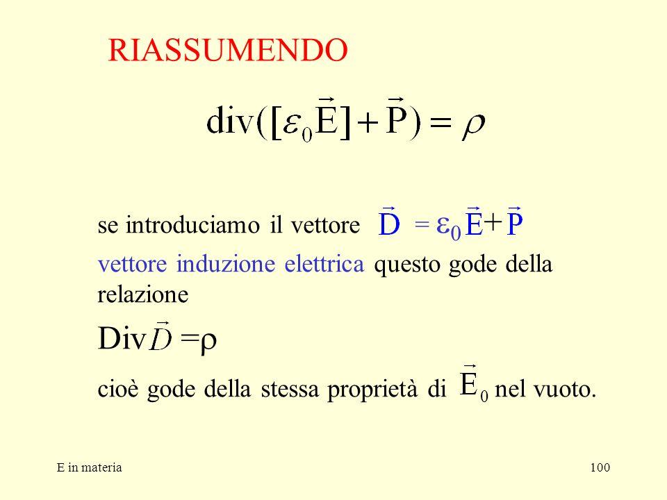 RIASSUMENDO Div =r se introduciamo il vettore = e0 +