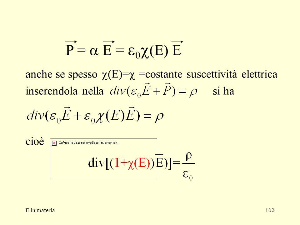 P = a E = e0c(E) E anche se spesso c(E)=c =costante suscettività elettrica. inserendola nella si ha.