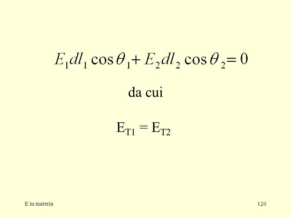 da cui ET1 = ET2 E in materia
