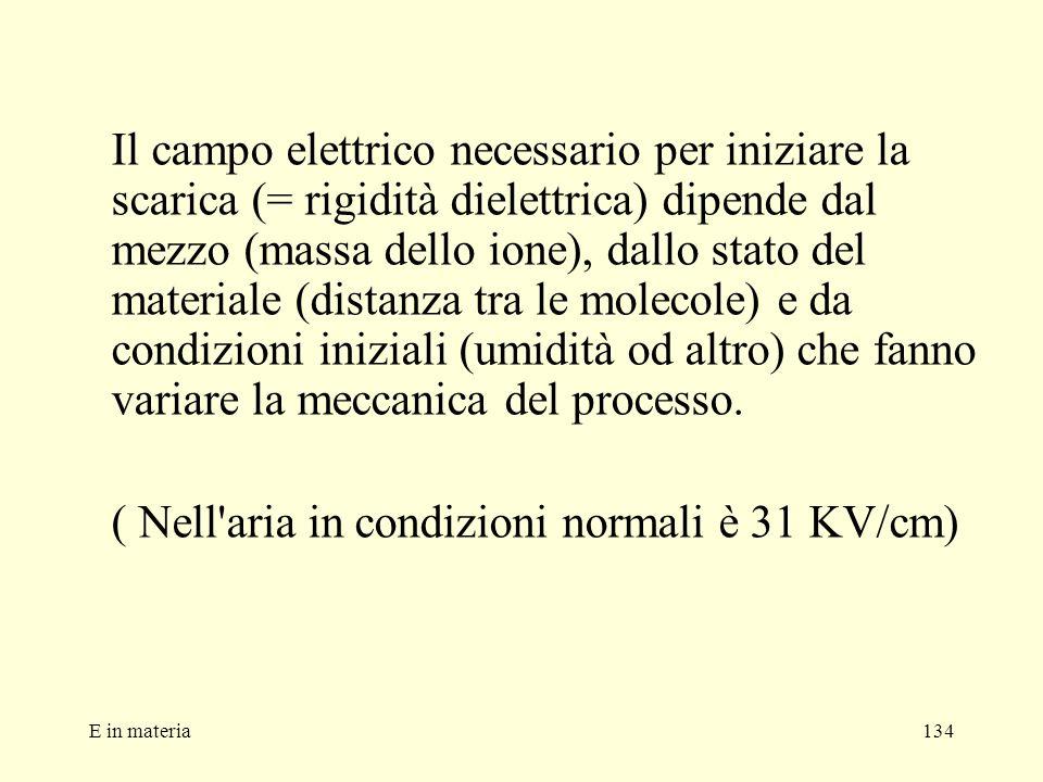 ( Nell aria in condizioni normali è 31 KV/cm)