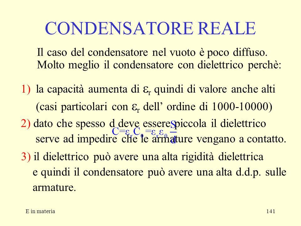 CONDENSATORE REALE Il caso del condensatore nel vuoto è poco diffuso. Molto meglio il condensatore con dielettrico perchè: