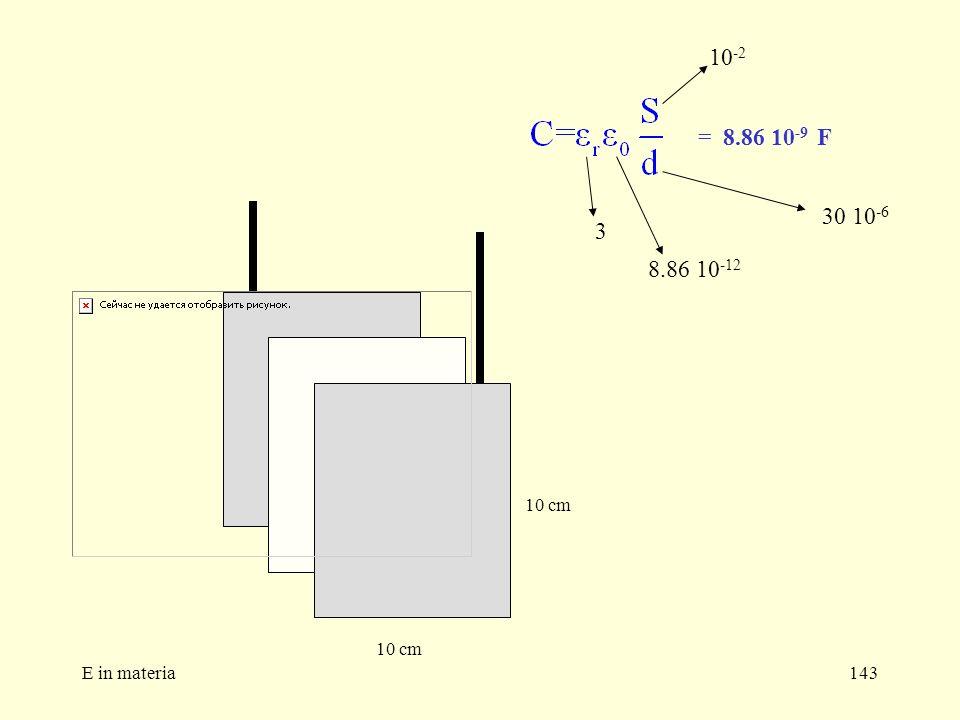 10-2 = 8.86 10-9 F 30 10-6 3 8.86 10-12 10 cm 10 cm E in materia