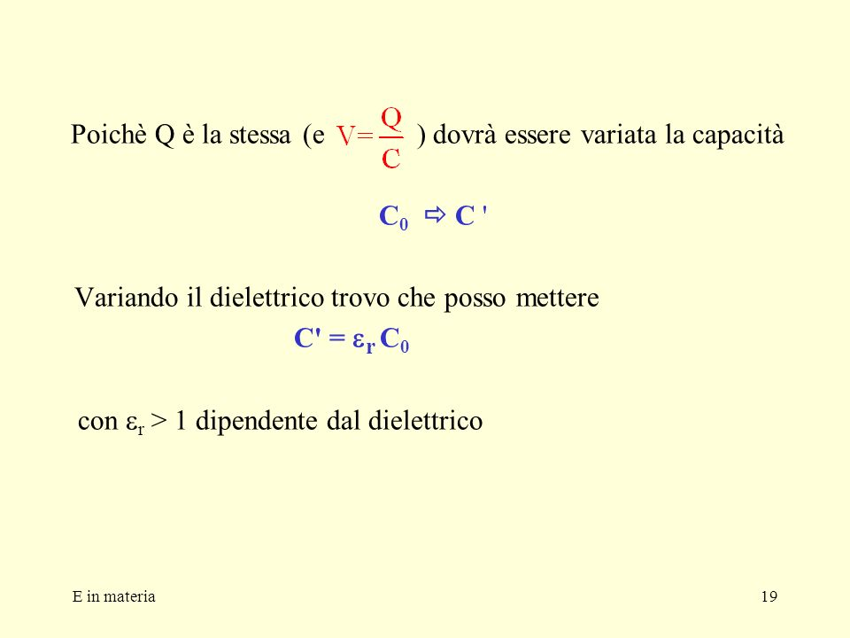 Poichè Q è la stessa (e ) dovrà essere variata la capacità C0  C