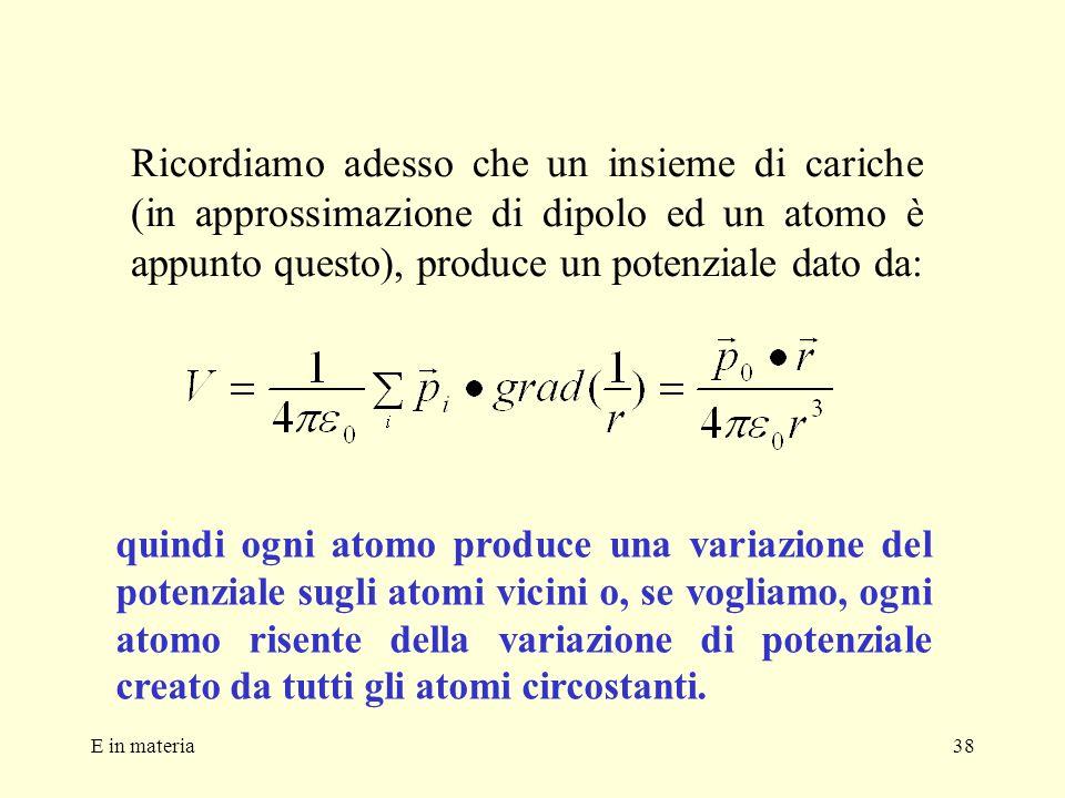 Ricordiamo adesso che un insieme di cariche (in approssimazione di dipolo ed un atomo è appunto questo), produce un potenziale dato da: