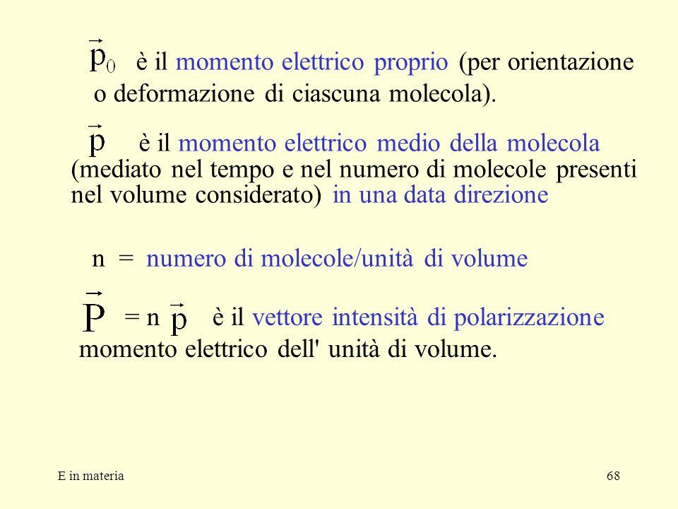 n = numero di molecole/unità di volume