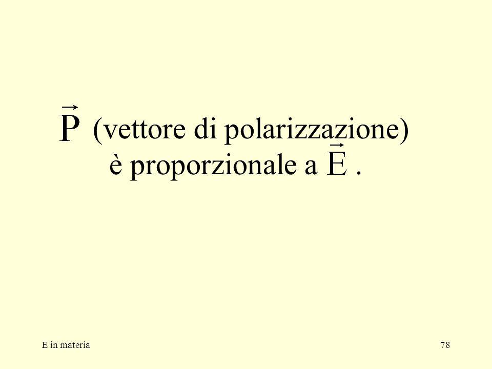 (vettore di polarizzazione) è proporzionale a .