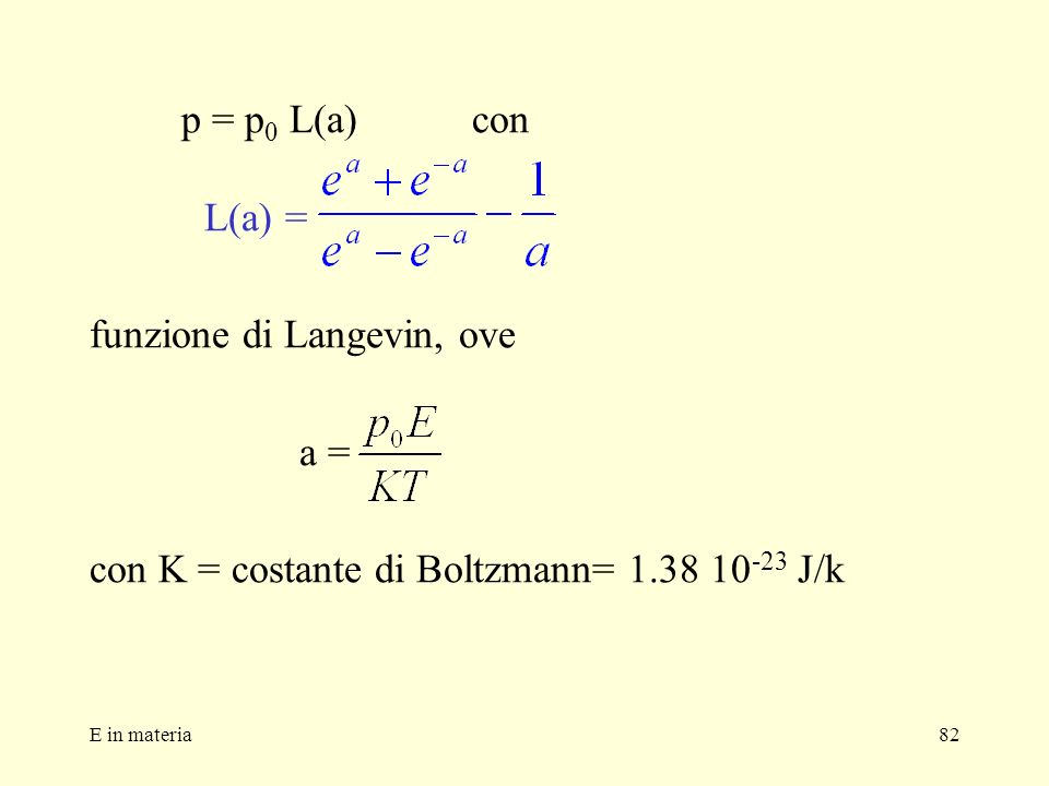 funzione di Langevin, ove a =