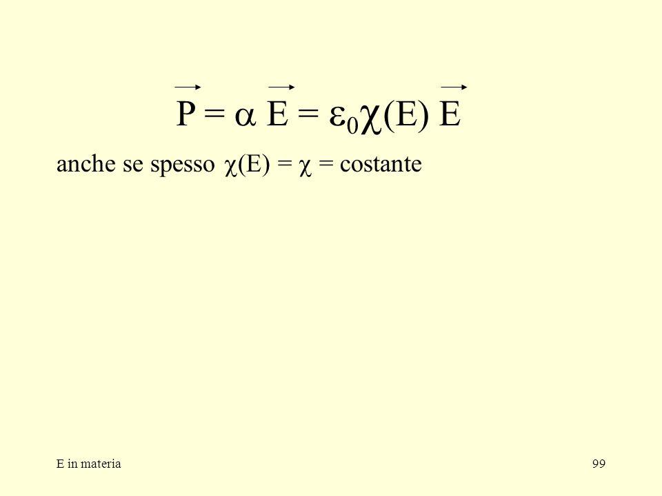 P = a E = e0c(E) E anche se spesso c(E) = c = costante E in materia