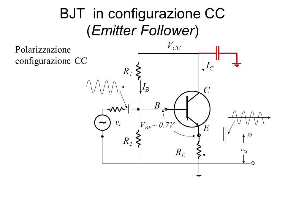 BJT in configurazione CC (Emitter Follower)