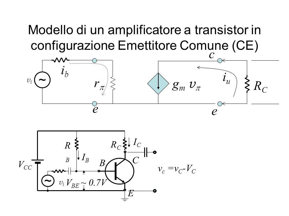 Modello di un amplificatore a transistor in configurazione Emettitore Comune (CE)