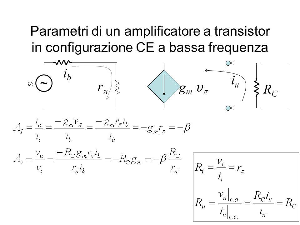 Parametri di un amplificatore a transistor in configurazione CE a bassa frequenza