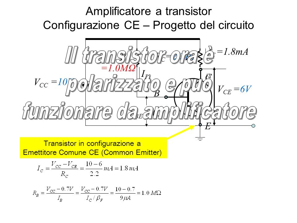 Amplificatore a transistor Configurazione CE – Progetto del circuito