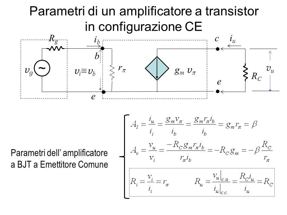 Parametri di un amplificatore a transistor in configurazione CE