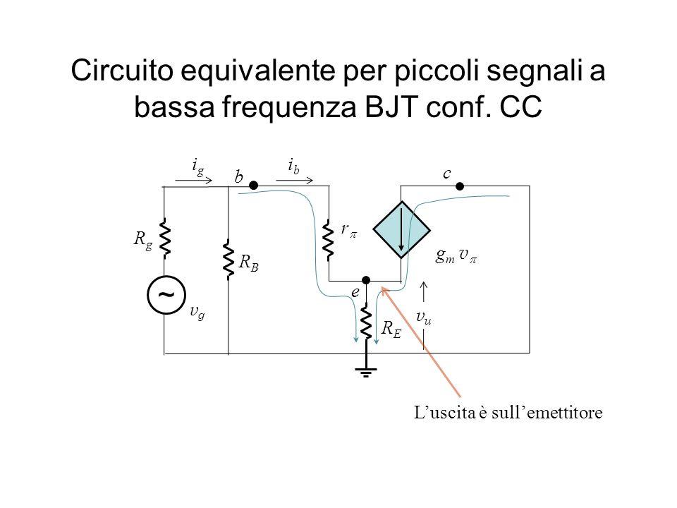 Circuito equivalente per piccoli segnali a bassa frequenza BJT conf. CC