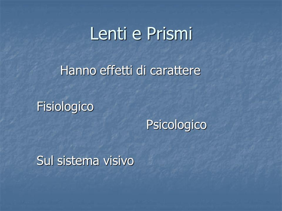 Lenti e Prismi Hanno effetti di carattere Fisiologico Psicologico