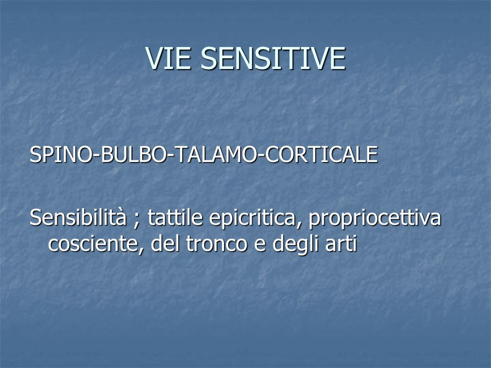 VIE SENSITIVE SPINO-BULBO-TALAMO-CORTICALE