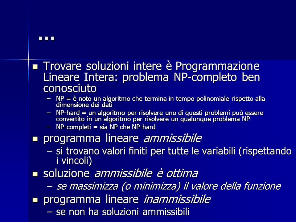 … Trovare soluzioni intere è Programmazione Lineare Intera: problema NP-completo ben conosciuto.